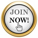 Join now button shiny glossy icon with black design on white and gold background